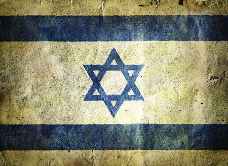 david brown: flag of Israel. Old vintage paper texture.