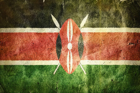 masai: flag of Kenya. Old vintage paper texture. Stock Photo