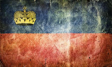liechtenstein: Flag of Liechtenstein. Old vintage paper texture. Stock Photo