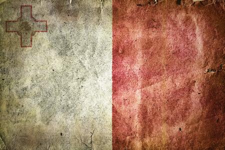valletta: Flag of Malta. Old vintage paper texture.