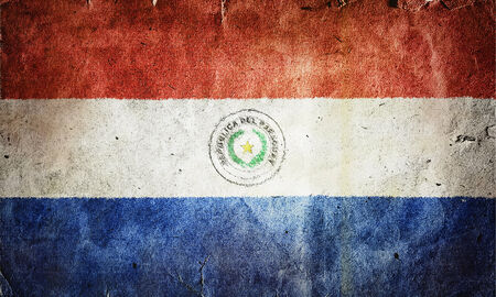 phrygian: flag of Paraguay. Old vintage paper texture. Stock Photo