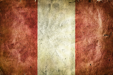 republic of peru: Flag of Peru. Old vintage paper texture.