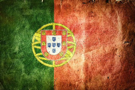 Flag of Portugal. Old vintage paper texture.