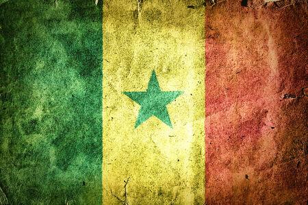 dakar: flag of Senegal. Old vintage paper texture. Stock Photo