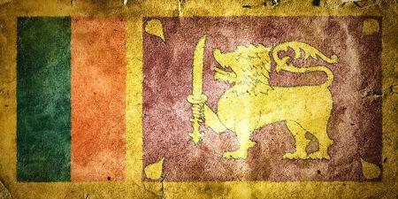 colombo: Flag of Sri Lanka. Old vintage paper texture.