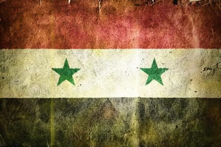 civil disorder: Flag of Syria. Old vintage paper texture.
