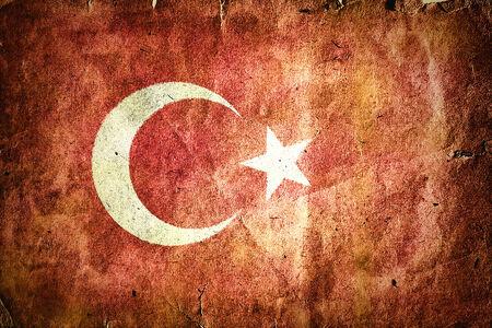 anatolian: Flag of Turkey. Old vintage paper texture.