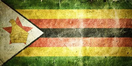 flag of Zimbabwe. Old vintage paper texture.