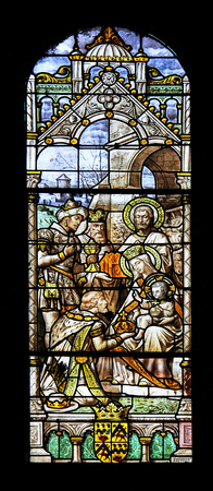 stained glass panel: Macon, France - January 13, 2015: Colourful seamless stained glass window panel  in the Cathedral of Macon, Borgogne, France Editorial