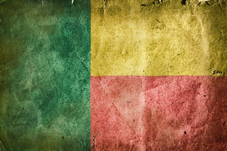 gulf: flag of Benin.Old vintage paper texture. Stock Photo