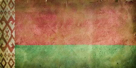 former: Flag of Belarus. Old vintage paper texture.