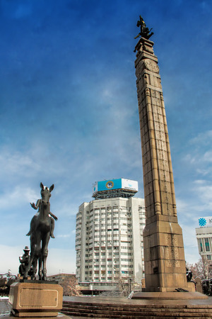 openair: ALMATY, KAZAKHSTAN – FEBRUARY 21, 2014: The Independence Monument at the Republic Square in Almaty, Kazakhstan on February, 21, 2014