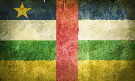 central african republic: flag of  the Central African Republic. Old vintage paper texture.