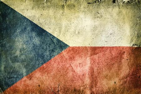 the czech republic: Flag of the Czech Republic. Old vintage paper texture. Stock Photo