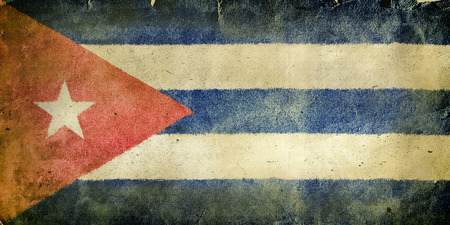 christopher columbus: flag of  Cuba. Old vintage paper texture.