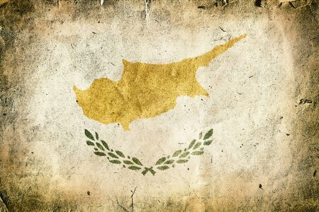 cross section of tree: flag of Cyprus. Old vintage paper texture.