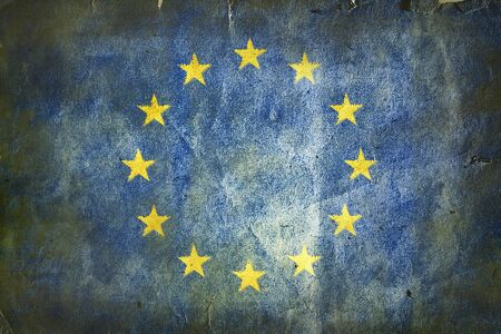 eec: flag of  the European Union. Old vintage paper texture. Stock Photo