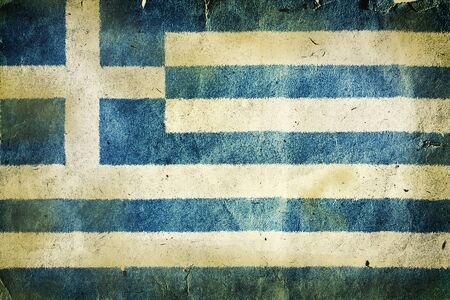 southeast europe: flag of Greece. Old vintage paper texture.