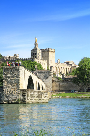 cote d'azure: Famous?medieval?bridge?in the town of?Avignon, in southern?France Stock Photo