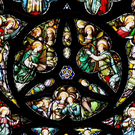 disciples: EDINBURGH, SCOTLAND - OCTOBER 02, 2014: Stained glass window in the  St Giles