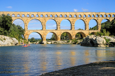 european roach: Roman aqueduct at Pont du Gard France