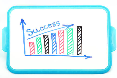 succes: Succes written on a Whiteboard with the drawn graphs. Isolated on white background. Stock Photo