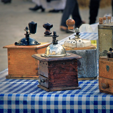 12 13: Collection of ancient hand-ills during the Exhibition of Ancient Crafts and industries at the festival grape harvest of the history October 12 and October 13, 2013, in Chusclan, France.