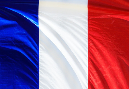 french flag: French Flag Waving on The Wind Stock Photo