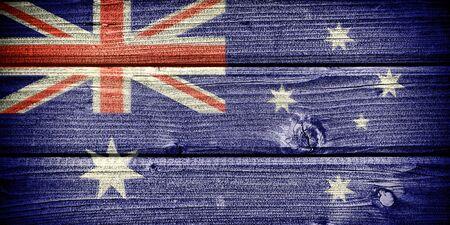 grunge union jack: Flag of Australia painted on old grungy wooden  background