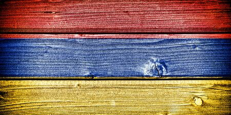yerevan: flag of Armenia painted on old grungy wooden  background