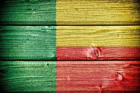 benin: flag of Benin painted on old grungy wooden  background