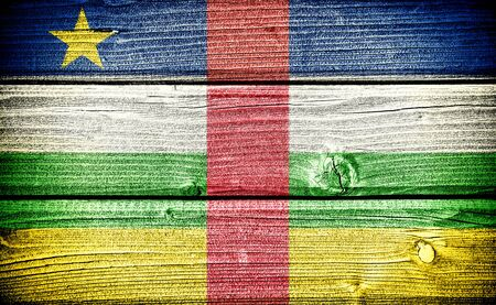 central african republic: Flag of the Central African Republic painted on old grungy wooden  background