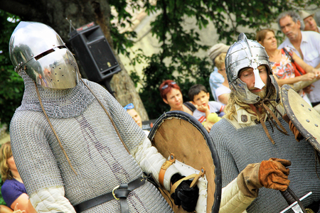 Chateauneuf-du-Pape, FRANCE - August, 03, 2013: Historical Reconstruction of the Medieval knights Tournament during a free medieval festival held in the famous winemaking village of Chateauneuf-du-Pape, south of France, on summer.