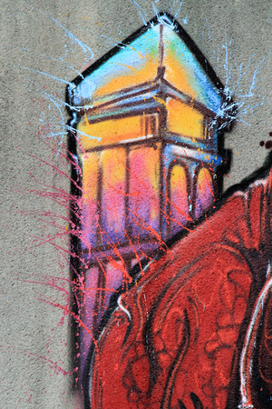 Tower painted on the wall: Graffiti - Street art Editorial