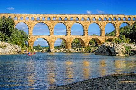 Roman aqueduct at Pont du Gard France