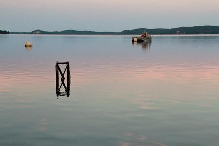 beautiful sunset Pond of Diane (Etang de Diane ) in eastern coast of Corsica, France Stock Photo