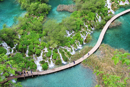 PLITVICE, Croatia - May 13, 2017: Aerial view of Plitvice lakes in the world famous sightseeing in Lika region of Croatia
