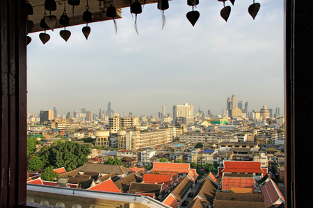 Beautiful sunset view from the Golden Mount, Wat Saket temple, Bangkok with Bangkok city view in the background Stock Photo