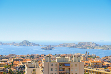 View of Marseille at Friuli archipelago from the Basilica of Our Lady of the Guard in Marseilles, France