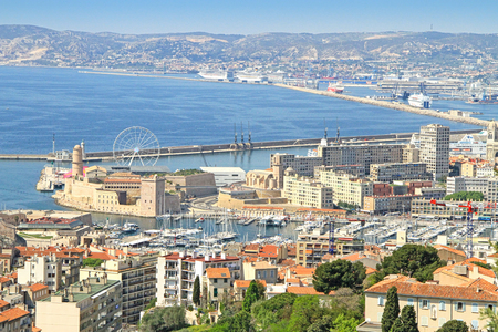 View of the old port of Marseille from the Basilica of Our Lady of the Guard in Marseilles, France Editorial
