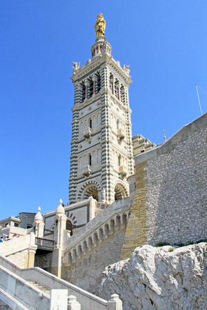 Notre Dame de la Garde bell tower in Marseilles, France Stock Photo