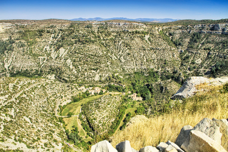 Circus of Navacelles (Cirque de Navacelles) in Cevennes National park. Gard, Herault, France: UNESCO world heritage site.