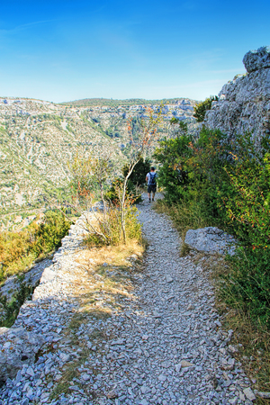 Treck at the Circus of Navacelles in Cevennes National park. Gard, Herault, France: UNESCO world heritage site.