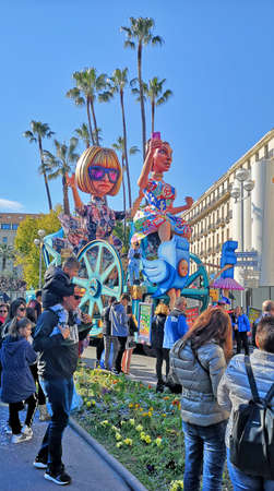 Nice, Cote d'Azur, France - February 23, 2020: Nice Carnival (Carnaval de Nice). This years theme is