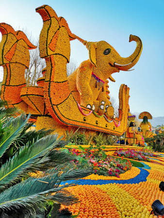 MENTON, FRANCE - February, 22, 2020: lemon festival in Menton in the south of France, On the theme of world festivals this year