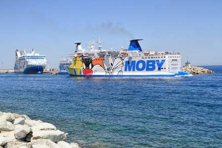 BASTIA, FRANCE - June, 25, 2019 - Corsica Ferry terminal on the port of Bastia, France, Europe.