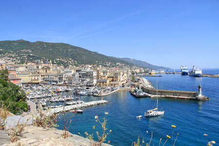 Bastia, France - June 02, 2019: The old port (the Vieux Port), in Bastia, Corsica, France.