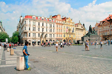 Prague, Czech Republic - June 06, 2016: tourists in Old Town Square (Staromestske namesti) in Prague, Czech Republic. Prague historical center has an area of 866 hectares and was added to the list of UNESCO World Heritage in 1992
