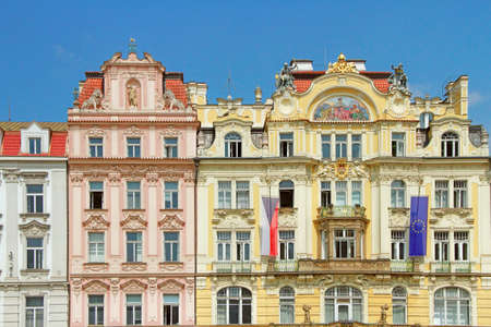 Traditional Houses in Prague Old Town Square in the Czech Republic Editorial