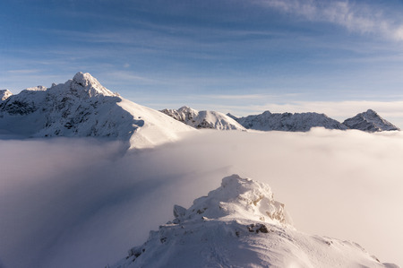 inversion: View of the peaks during the inversion. High Tatras.